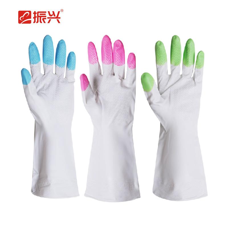 振兴 家务手套薄款加长耐用手套 洗碗清洁防水胶皮厨房橡胶手套