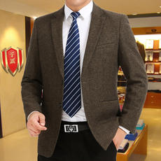 Spring and autumn models middle-aged men's suits thousand shield loose large size wool single suit middle-aged casual daddy jacket