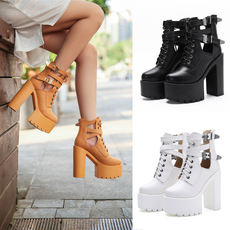 Nightclub bar dj female singer dsstage performance shoes thick with waterproof platform gear belt buckle high heel women's booties