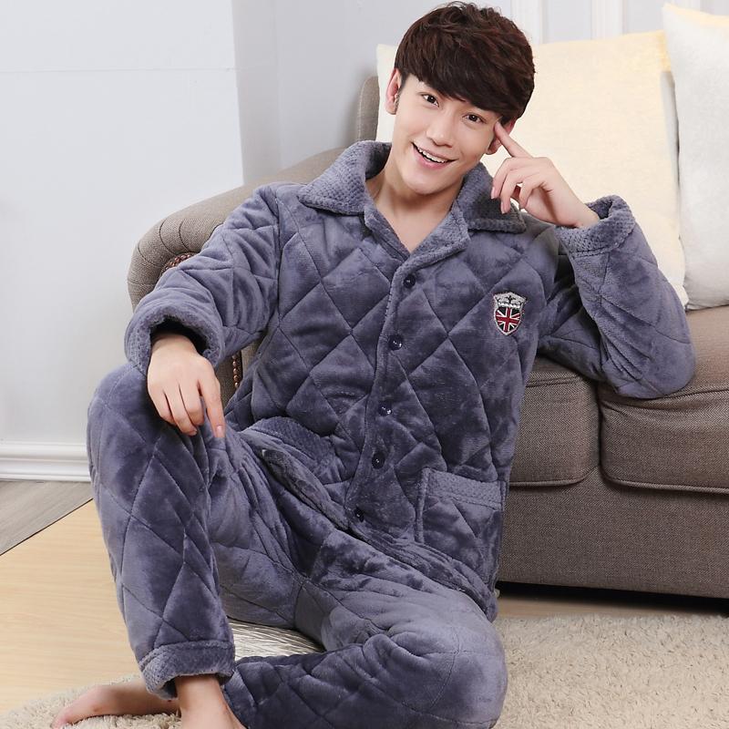男士冬季三层加厚珊瑚绒夹棉睡衣法兰绒男加绒保暖棉袄家居服套装