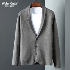Wolunonlly2017 suit collar short cardigan Men's sweater cardigan Spring and autumn wild business men's jacket