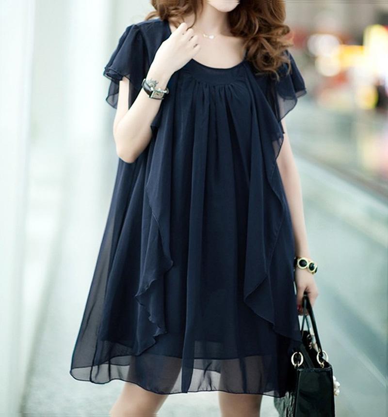 纺连衣裙胖mm中长款短袖纯色雪纺衫夏季新款加肥加大码女装显瘦雪