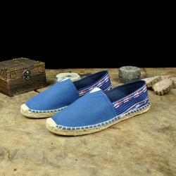 春秋季中国风亚麻布鞋民族风男鞋复古平底低帮鞋一脚蹬懒人鞋子