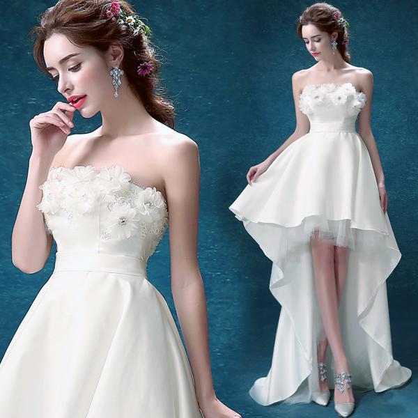 天使嫁衣 蕾丝抹胸前短后长公主新娘拖尾婚纱礼服1847批发