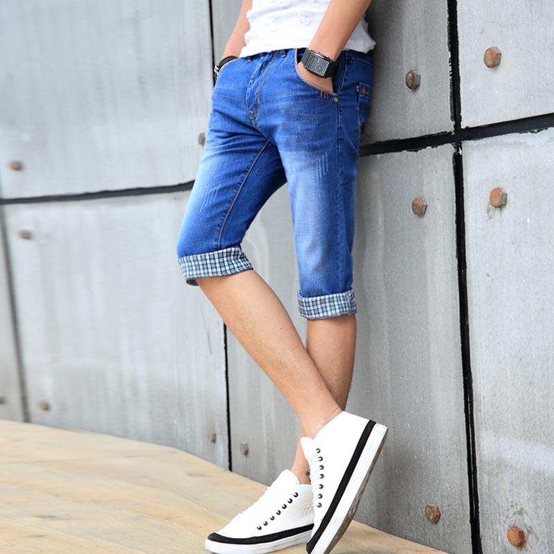 夏季牛仔短裤男士薄款青少年修身弹力小脚五分中裤马裤青年七分裤