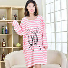 Nightdress female summer cotton modal long-sleeved nightdress 200 kg large size loose fat MM pajamas pregnant women home service