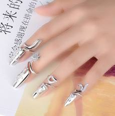 Korean personality creative opening sterling silver armor ring Korean version of the female temperament exaggerated long nail cover jewelry