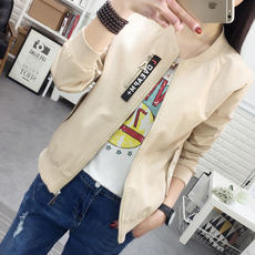 Short leather women's PU leather jacket spring and autumn new women's fashion wild long-sleeved round neck leather jacket women's shirt