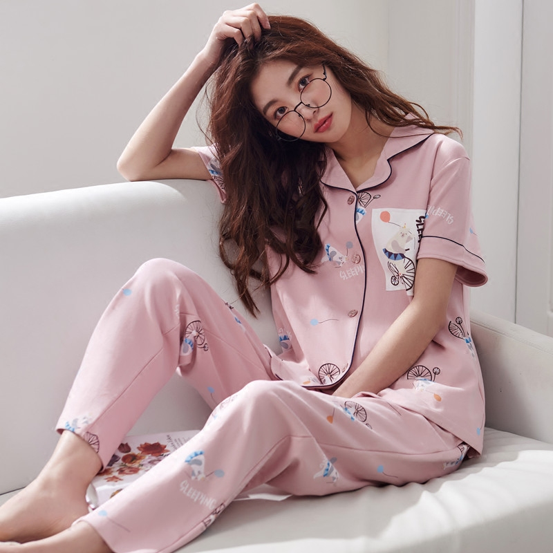 睡衣女夏季纯棉短袖长裤夏天女士韩版两件套薄款可外穿家居服套装