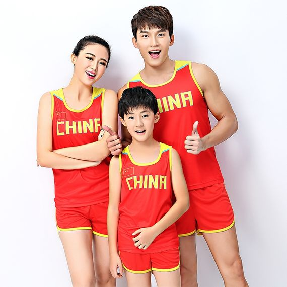 Men and women track and field training competition suit adult vest China team children track suit suit primary and secondary school students can print
