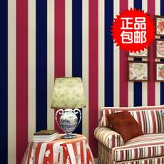 British wind Mediterranean wallpaper boy room bedroom retro red white blue vertical stripes children room wall wall paper