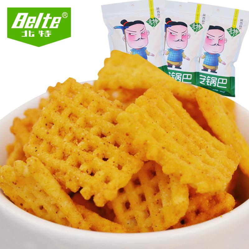 北特西安锅巴400g*5袋麻辣食品休闲零食陕西特产小米豆香锅巴批发