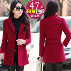 Autumn and winter women's short woolen jacket female Korean version of the collar wool coats Slim thin thick woolen jacket