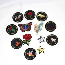 Round embroidered cloth animal patch stickers Personality cartoon patch Bags clothing accessories Adhesive