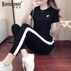 休闲运动套装女2018夏季新款修身显瘦短袖时尚两件套跑步运动服潮