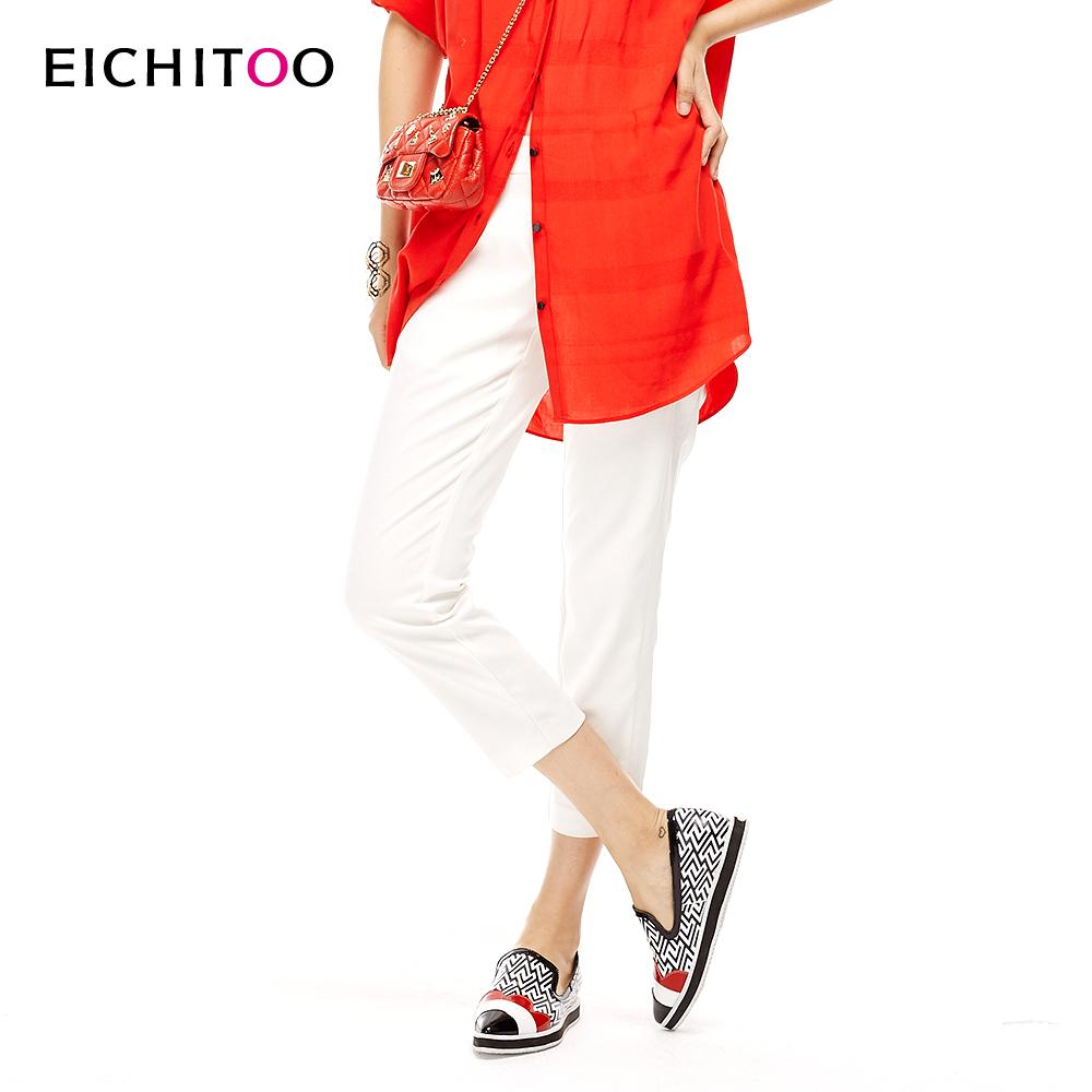 【满99包邮】2018爱居兔夏季女装时尚白色修身休闲裤
