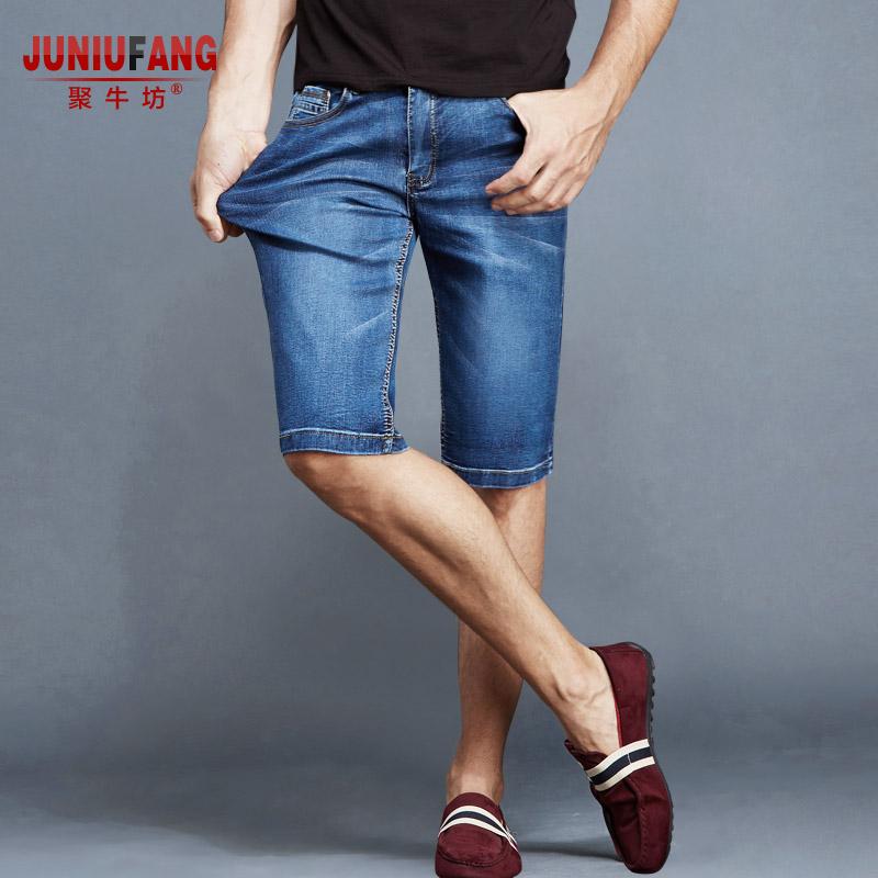 夏季超薄款牛仔短裤男五分裤高弹力休闲马裤夏天5分男士裤子中裤
