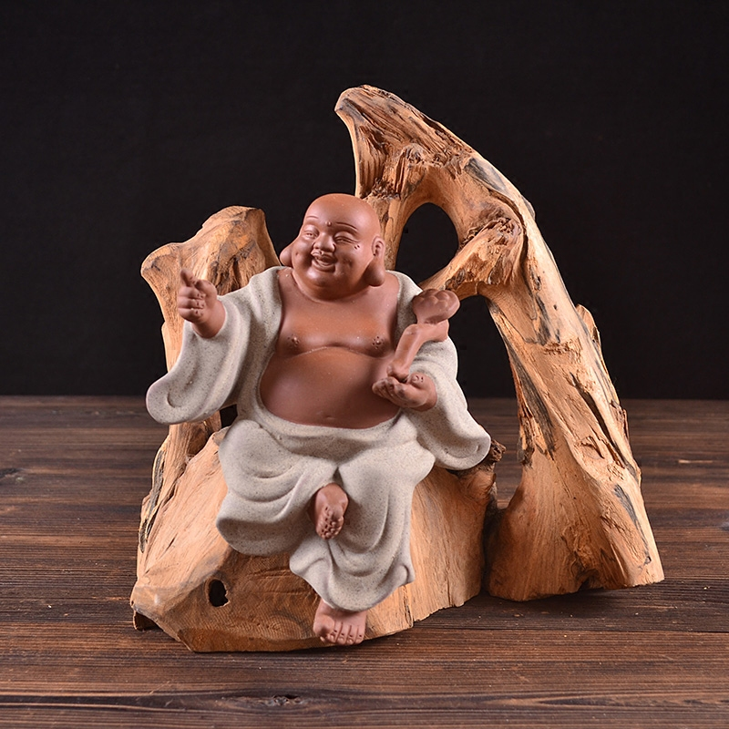 陶瓷佛像紫砂如来观音地藏王达摩和尚风化木根雕工艺家居饰品摆件