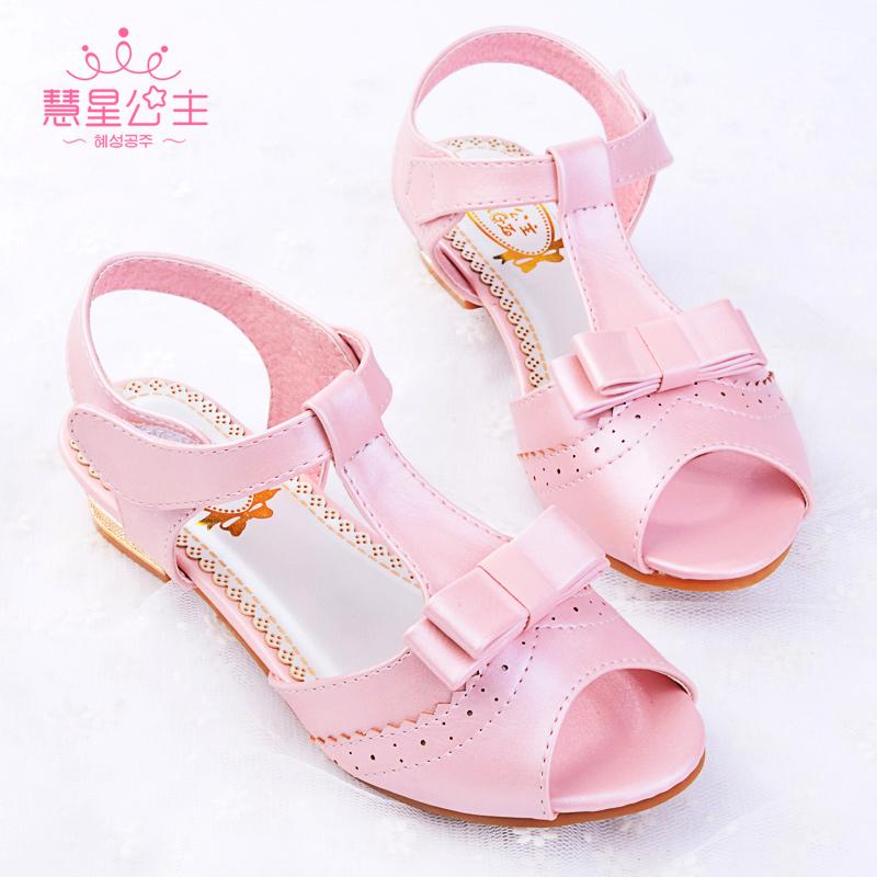 慧星公主女童凉鞋2016夏韩版儿童鞋小高跟鱼嘴公主鞋布洛克舞蹈鞋
