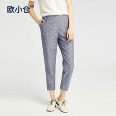OXC/European Kokura flower gray cotton linen pants women Chambray elastic waist pants pants linen gray pants