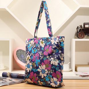 新款女士手提包单肩包购物袋布包学生书袋书包帆布包女包中老年包