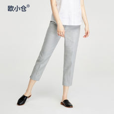 OXC/European Kokura linen pants summer Thin linen pants pants pants female feet pants elastic waist pants