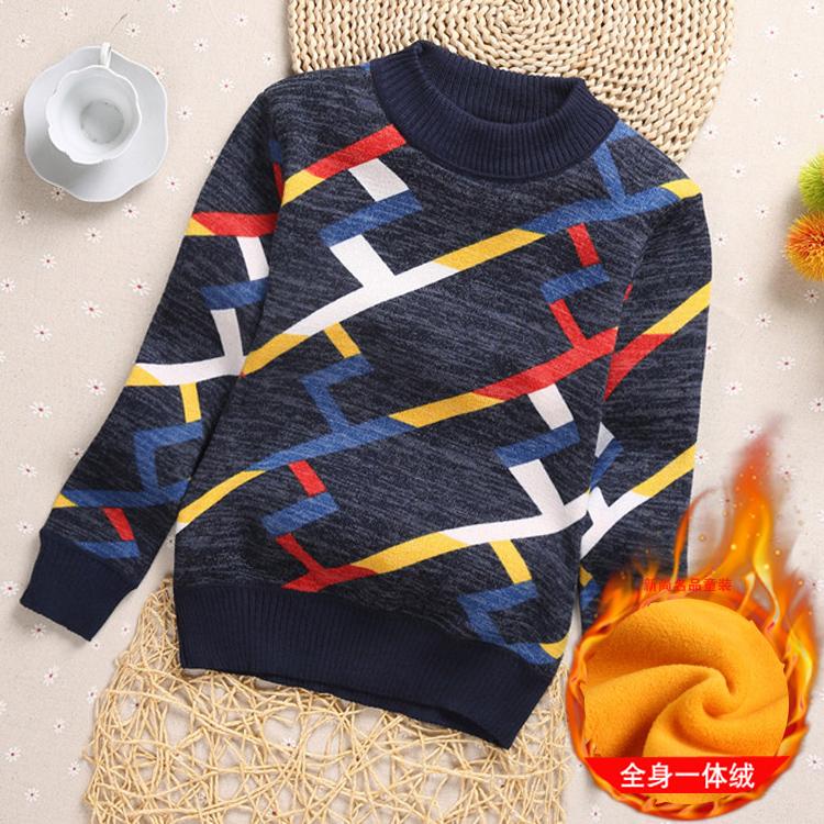 童装男童毛衣加绒加厚秋冬新款儿童毛衣全棉圆领韩版英伦套头包邮