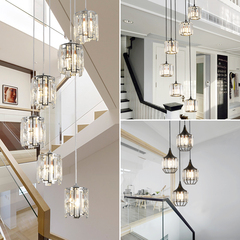 楼梯吊灯美式跃层公寓客厅水晶长吊灯现代简约复式楼梯别墅长吊灯