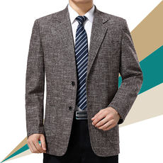 Spring and Autumn Middle-aged Men's Suit Jacket Dad Pack Single Western Casual Wear Middle-aged Casual Non-iron Thin Suit Single Piece