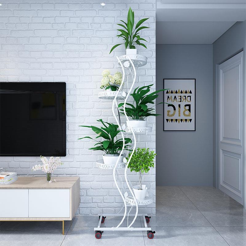 花架铁艺多层可移动推拉带轮省空间花架阳台客厅落地绿萝花盆架子