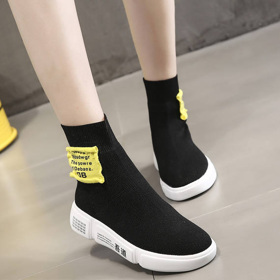 Ins super fire flying woven shoes female 2018 summer and autumn new color matching breathable fashion high shoes flat casual socks shoes