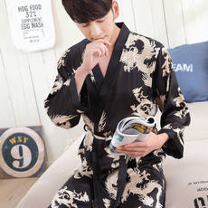Nightgown Men Ice silk Spring and summer Summer Long sleeve Thin section Sexy Silk Bathrobes Men Large yard Long Pajamas Tracksuit