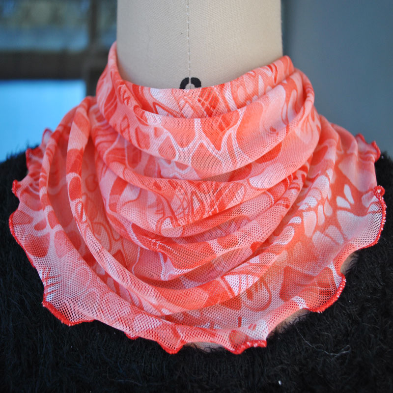 新款小丝巾套头围脖假领子纯色印花女脖套防晒护颈椎丝巾百搭围巾