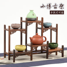 Chicken wing wood Chinese style small Bo ancient solid wood multi treasure pavilion display red rosewood teapot decoration storage rack rack