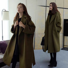 Autumn and winter Korean version of the big size woolen coat 200 pounds female fat mm was thin in the long section over the knee thick woolen coat