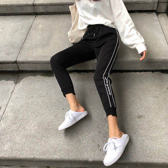 Striped printed casual sports pants autumn women 2018 new wild high waist was thin with nine points harem pants