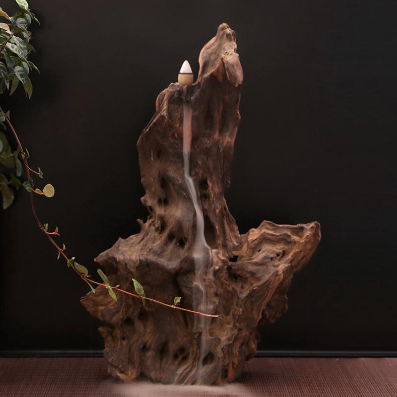天然陈木倒流香座 禅意造景水沉木根雕香炉 精品风化木香道摆件