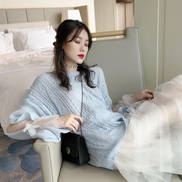 韩版甜美慵懒风拼接网纱系带长袖圆领针织衫+仙女气质网纱蛋糕裙