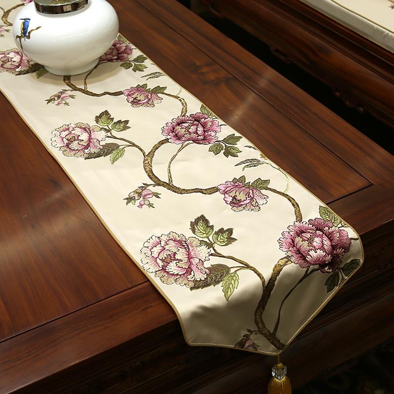 中式桌旗高档花鸟刺绣欧式茶几电视柜玄关桌布中国风古典床旗定制