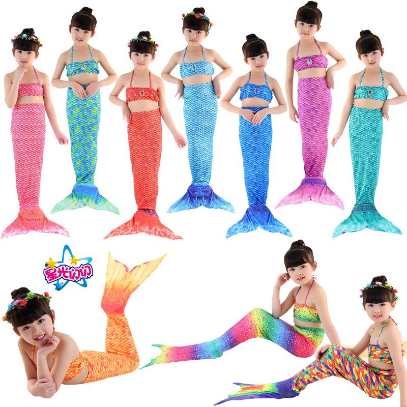 美人鱼泳衣儿童美人鱼比基尼游泳衣美人鱼服装cos美人鱼可装脚蹼
