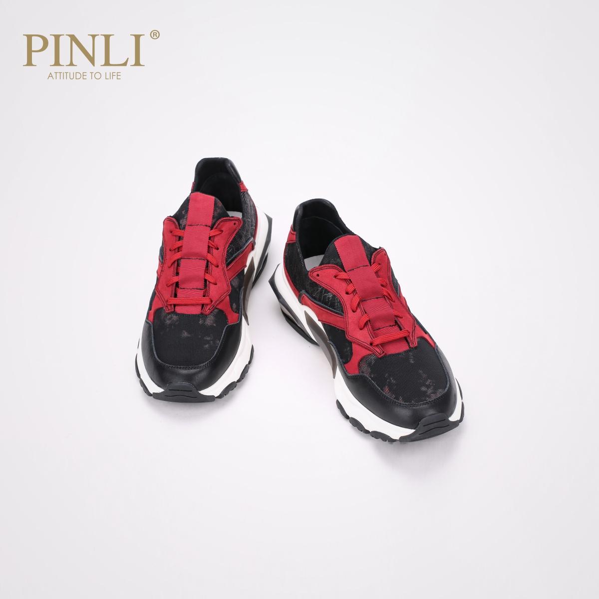 PINLI品立秋季新款男鞋低帮鞋套脚运动户外休闲鞋B191121269
