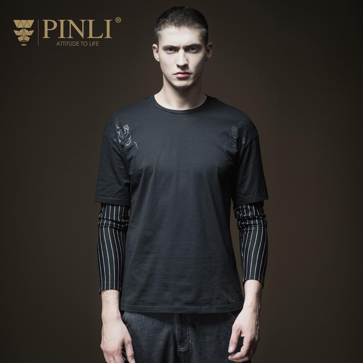 PINLI品立2018春季新款男装条纹印花假两件圆领长袖T恤B181111195