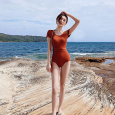 Swimsuit female conjoined belly slim sexy Korean ins tight conservative swimsuit red triangle new swimwear