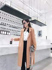 Korean version of the 2018 new casual encryption mixed wool coat