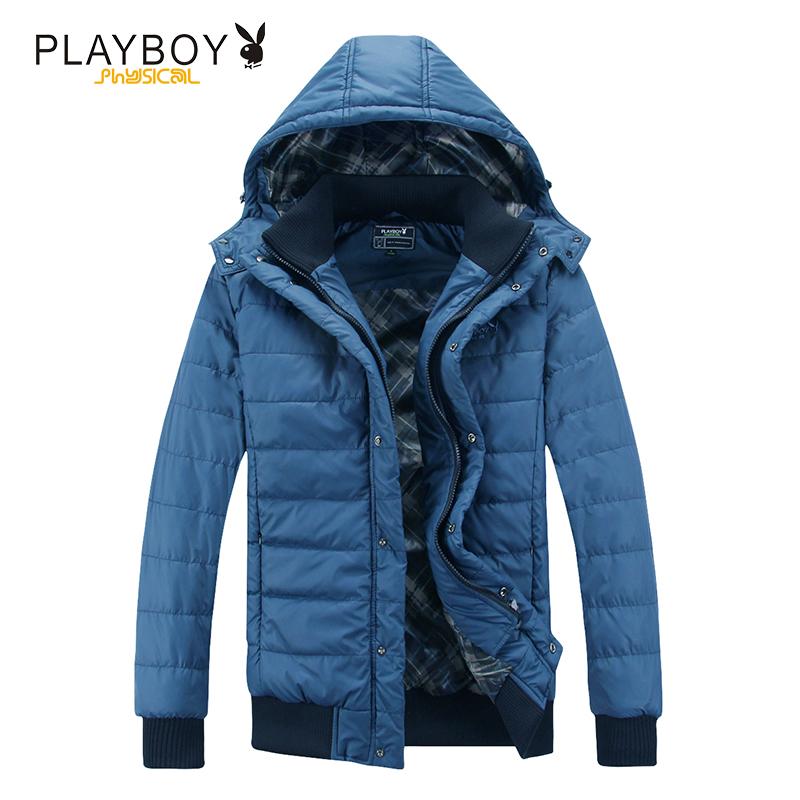 花花公子男士棉衣加厚保暖防风连帽外套户外秋冬季男装夹克新品