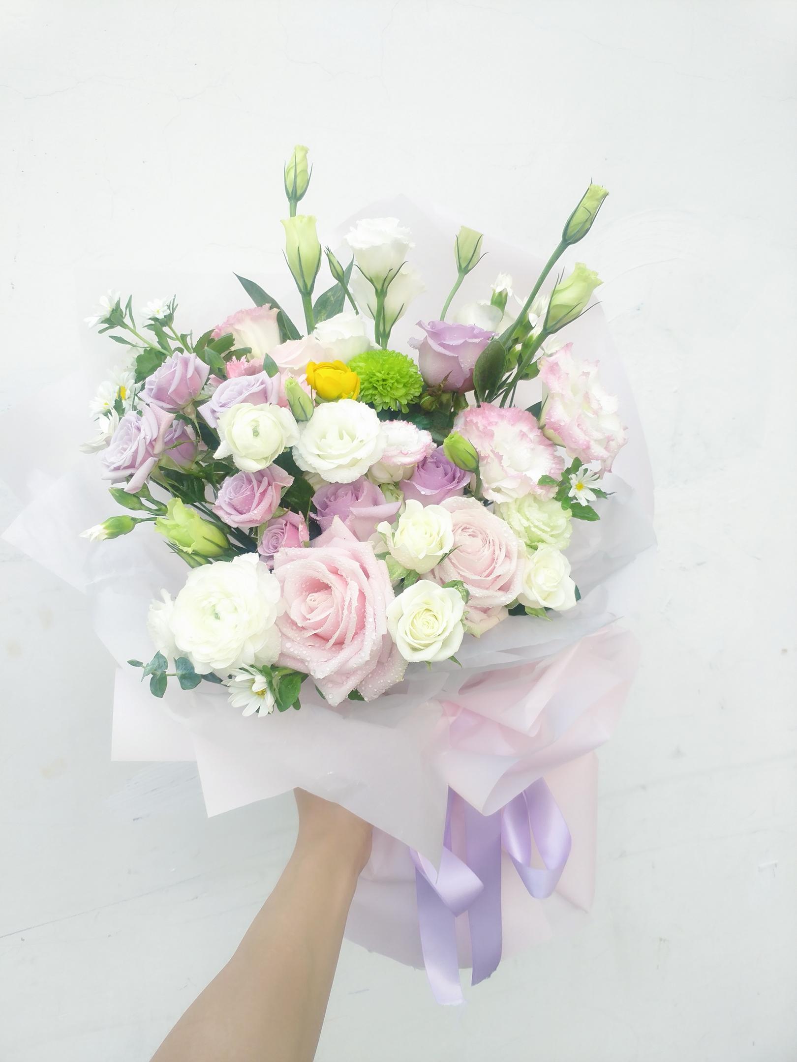 广州洋牡丹粉紫玫瑰蔷薇女友闺蜜生日小清新花束少女心粉色紫花束