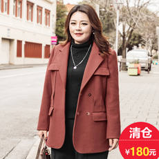 XL women's fat sister winter dress tumbling collar tooling woolen coat M1843163