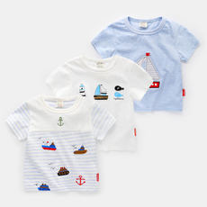 Boys White Short Sleeve T-Shirt 2018 Navy Style Summer New Kids Baby Child Half Sleeve Top U6101