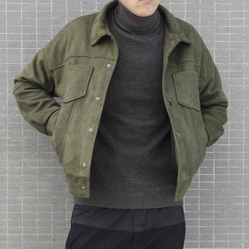 新款秋冬季落肩短款夹克男潮青年韩版宽松翻毛皮麂皮外套男绒鹿皮