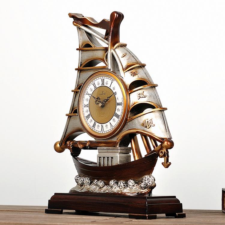 丽盛复古美欧式座钟装饰台钟一帆风顺古船钟表仿古客厅大时钟摆件